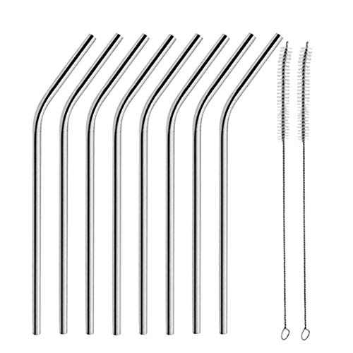 8 Long Stainless Steel Drinking Straws Fits 20 Oz & 30 Oz Cu