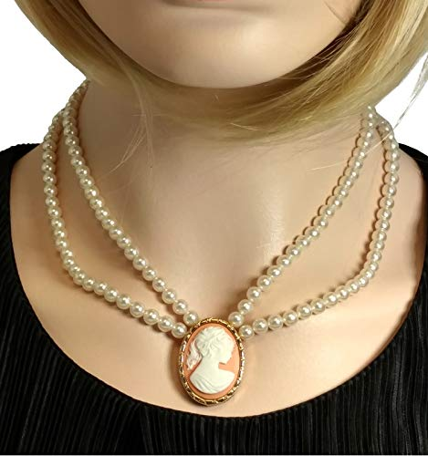 Cameo Necklace Two Strand Faux Pearl 925 Gold Vermeil 18