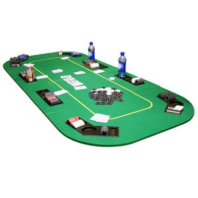 Texas Hold'em Folding Table Top with Cup Holders Felt Color: Green by JP Commerce