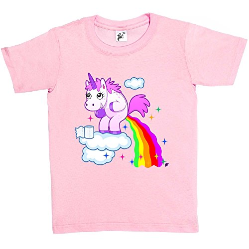Girls T-Shirt Unicorn With Rainbow Juice Coming Out Everywhere Kids Boys