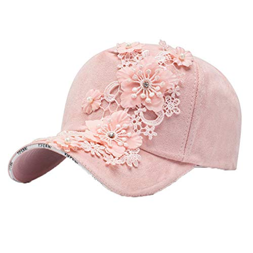 Women's Glittered Rhinestone Lace Flower Baseball Caps Fashion Shiny Pearl Trucker Hat Hip Hop Snapback Hat Sun Cap Pink