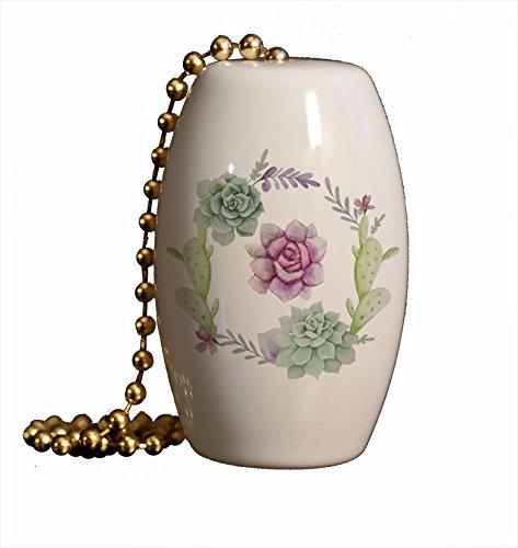 Southwestern Cactus Flower Wreath Porcelain Fan / Light (Porcelain Wreath)