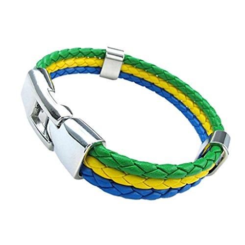 Dolity Russia 2018 WORLD CUP National Falg Cuff Bracelet Braid Leather Triple - (Brazil Braid)