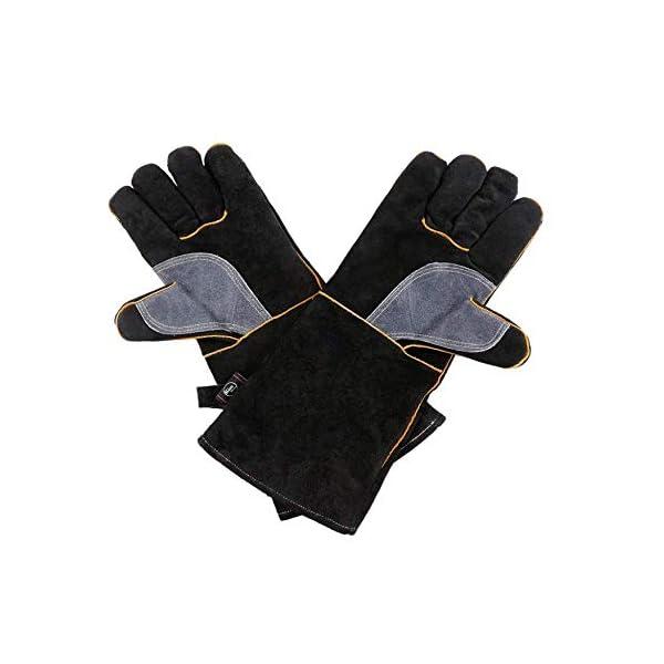 Guanti in pelle resistenti al calore estremo e resistenti al fuoco, guanti da barbecue per saldatura a manica lunga 932… 3 spesavip