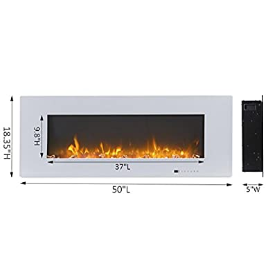 "Valuxhome Luxey 50"" 750W/1500W, Wall Mounted Electric Fireplace, Touch Screen Control Panel with Remote, Logsets and Crystals"
