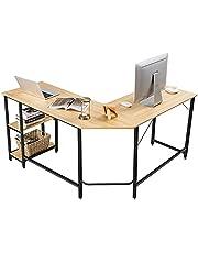 COSTWAY L-vormige bureau, kantoor/thuis bureau met twee opbergrek, hoogwaardige metalen frame, computer hoekbureau voor kantoor, ruimtebesparend, eenvoudig te monteren (Natuurlijk)