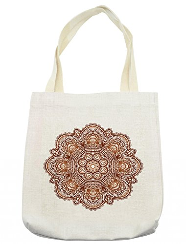 Lunarable Mandala Tote Bag, Native American Sacred Labyrinth with Ethnic Occult Interlace Curls Habitat Pattern, Cloth Linen Reusable Bag for Shopping Groceries Books Beach Travel & More, (Labyrinth Costume Family)