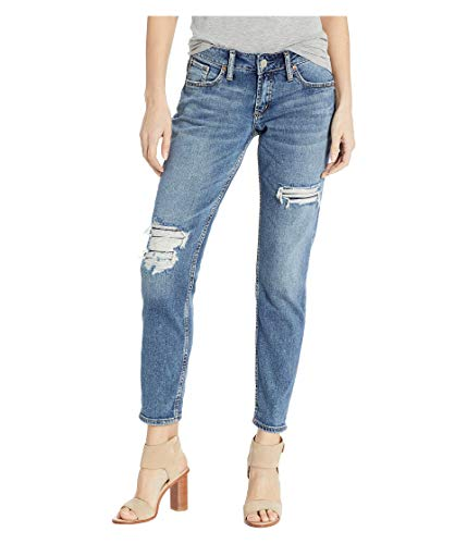 Silver Jeans Co. Women's Boyfriend Mid Rise, Destroyed Indigo, 31W x 27L
