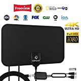 HDTV Antenna, Indoor Amplified HD Digital TV Antenna 120 Miles Range Support 4K 1080p and All TVs with Detachable Amplifier - 13ft Longer Coax Cable - Black