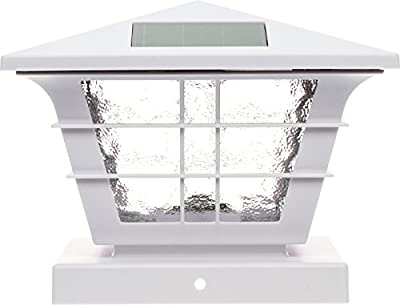GreenLighting 5x5 Solar Post Cap Light with 4x4 Base Adapter (White, 12 Pack)