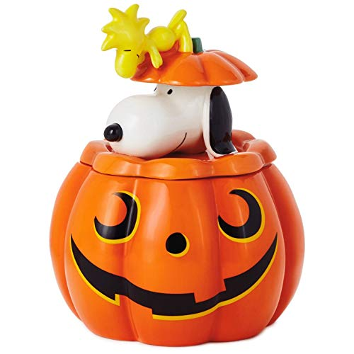 Peanuts Snoopy & Woodstock Jack-o'-Lantern Ceramic Candy Jar Kitchen Accessories Movies & TV for $<!--$79.99-->