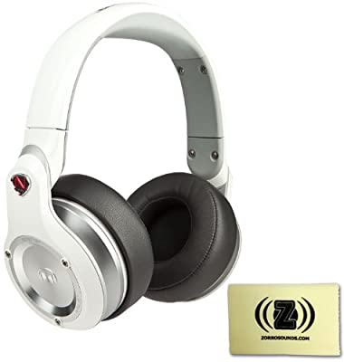 Monster NCredible NPulse Over-Ear Headphones (White) Bundle with Custom Design Zorro Sounds Cleaning Cloth