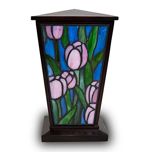 OneWorld Memorials Stained Glass Cremation Urn - Large - Holds Up To 200 Cubic Inches of Ashes - Pink Tulip - Engraving Sold Separately (Urn Glass Pink)