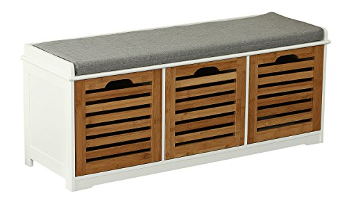 Orolay Storage Bench with 3 Crates Shoe Cabinet Soft Seat Cushion ZHXD23 Natural (Storage All Wooden Natural Bench)