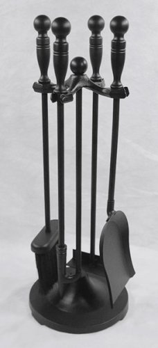 ''MINI'' Miniature Colonial Fireplace Hearth Woodstove Tool Set with Classic Ball Handles - BLACK by Woodfield