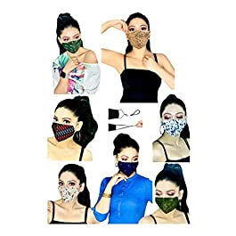 MASK PLUS 3 Layer Cotton Reusable Face Mask for Women with Adjustable Ear Loops (Fashion Pack of 8)