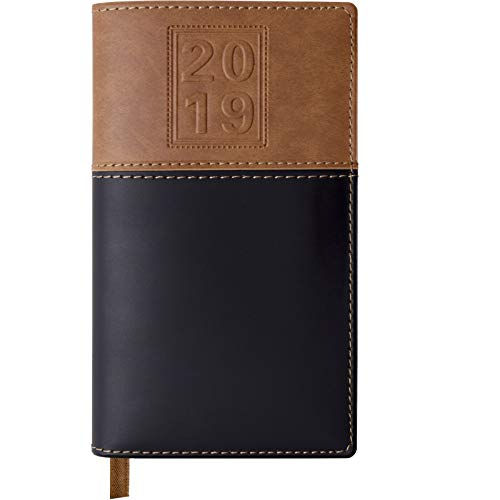 2019 Pocket Planner/Pocket Calendar: Includes 14 Months (November 2018 to December 2019) / 2019 Weekly Planner/Weekly Agenda/Monthly Calendar Organizer (Black/Brown - Pack of 1) ()