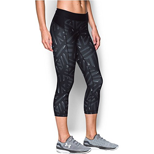 Under Armour Women's HeatGear Armour Printed Capri, Stealth Gray/Black, Large