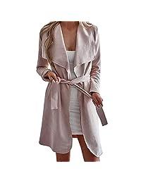 CieKen Womens Jacket Cardigan, Winter Waterfall Coat Ladies Belted Outwear