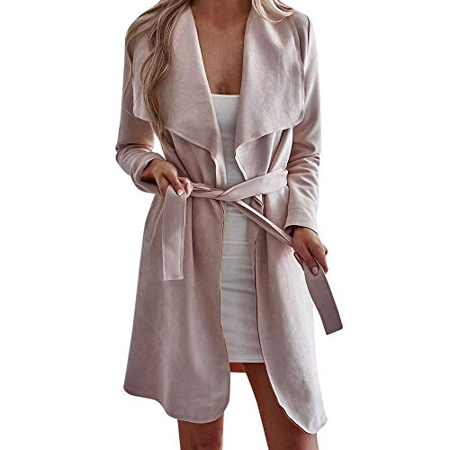 Fheaven (TM) Women Winter Cardigan Coat Lapel Irregular Long Sleeves Waterfall Open Front Cardigans Trench Coat (XL, Pink) by Fheaven (TM)