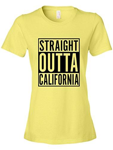 Tenacitee Women's Straight Outta California Scoop Neck T-Shirt, Small, Spring Yellow (Springs Christmas Day Eureka)
