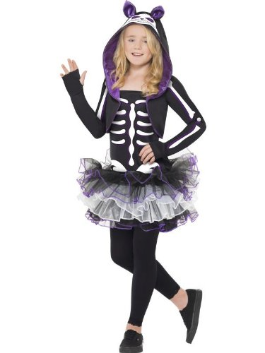 Cat Girl Costume Child Uk (Smiffys Girl's Skeleton Cat Costume)