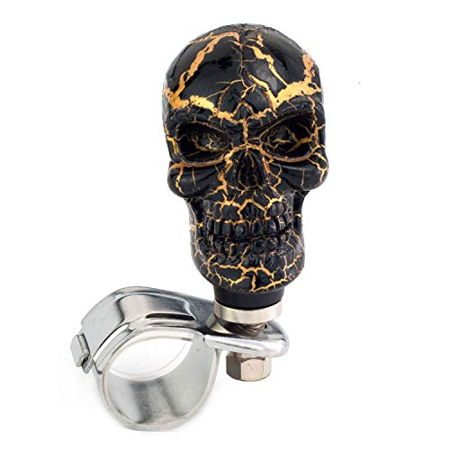 (Thruifo Skull Car Grip Knob Steering Wheel Suicide Spinner, Small Teeth Devil Style Car Power Handle Knobs Fit Most Manual Automatic Vehicles, Black Pattern)