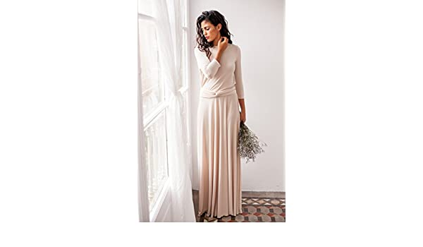 Amazon.com: Champagne wedding dress, long sleeve wedding dress, romantic beige long dress, long sleeve wrap dress, beige long dress, mimetik bcn dresses: ...