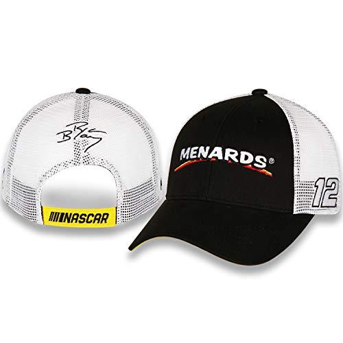 (Checkered Flag Ryan Blaney 2019 Menards Draft Mesh NASCAR Hat Black, White)