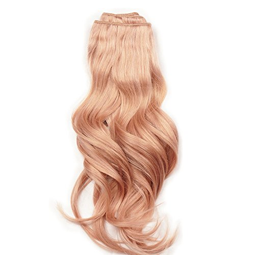 Stella Reina Dip Dye Pastel Rose Gold Color Clips In Hair Extensions 7pcs/120g Full Head Set Real Remy Human Hair Straight 14 Inch Short