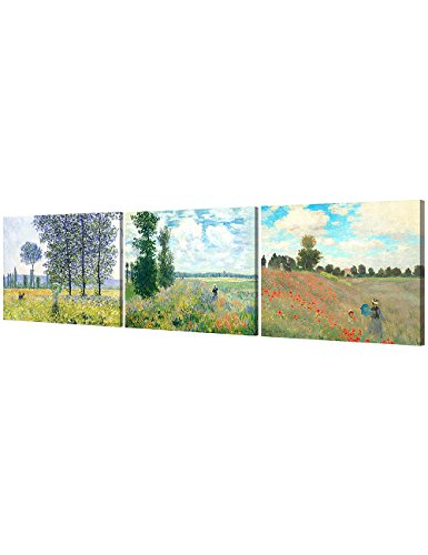 DecorArts - The Mountain View Series(Triptych), Claude Monet Art Reproduction. Giclee Canvas Prints Wall Art for Home Decor 24x30