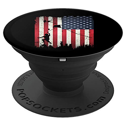Kite Flying USA American Flag 4th of July Patriotic Gift PopSockets Grip and Stand for Phones and Tablets
