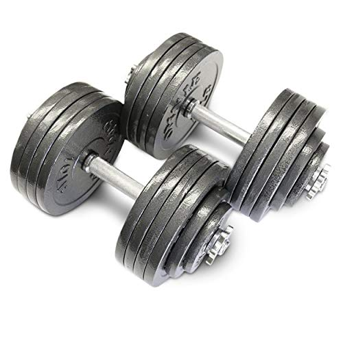 Omnie 200 LBS Adjustable Dumbbells with Gloss Finish and Secure Fit Collars for Crossfit WOD Weightlifting and Bodybuilding for Health Fitness and Flexibility (200 LBS Pair)