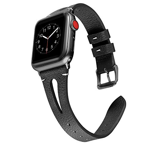 s Compatible with Apple Watch, 38mm 40mm Series 4 3 2 1, Slim Strap with Breathable Hole Replacement Wristband for Iwatch Nike+ Edition, Black with Black Connector ()