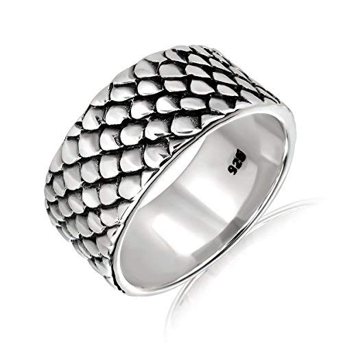 - WithLoveSilver Solid 925 Sterling Silver Sea Mermaid Fish Dragon Scale Ring (10)