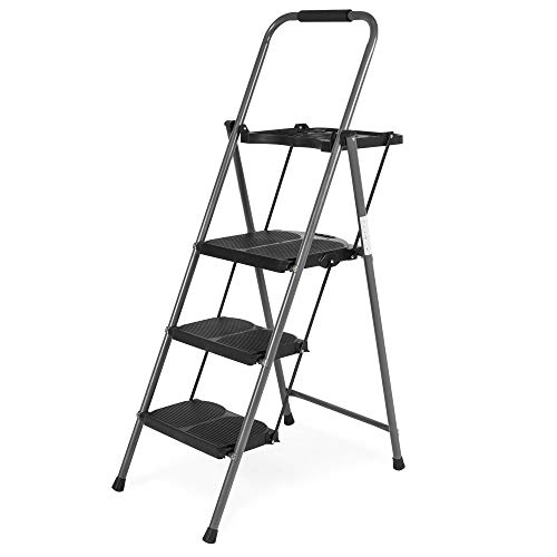 - Best Choice Folding Steel 3-Step Stool Ladder Tool Equipment for Indoor, Outdoor w/ Hand Grip, Wide Platform Steps, 330lbs Capacity - Black