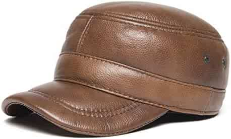 04a207fb3b8 VOBOOM Genuine Leather Cap for Men Military Style Adjustable Cadet Cap with  Ear Flap
