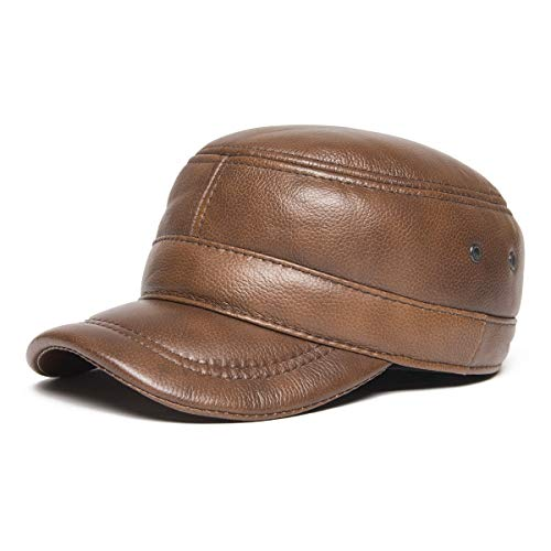 (VOBOOM Genuine Leather Cap for Men Winter Military Style Adjustable Cadet Cap with Ear Flap (Coffee) )
