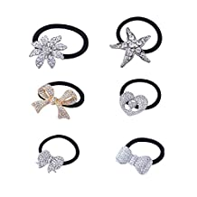 Stuffwholesale 6pcs Elastic Hair Rope Silver Rhinestone Crystal Hair Band Ponytail Holder Hair Ties Accessories (#3)
