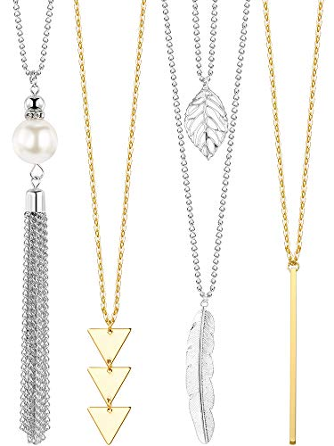 Long Pendant Necklace Set, Layer Simple Bar Necklace Tassel Y Strands for Women (Style 3, 4 Pieces)