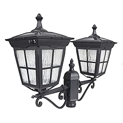 Kemeco ST4311AB1-2 LED Cast Aluminum Double Head Solar Lamp Post Light Street Light for Outdoor Landscape Pathway Driveway Street Patio Garden Yard Lawn