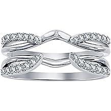 tusakha 1/4 ct Simulated Diamond Enhancer Solitaire Engagement Ring 14k White Gold Plated Guard Wrap Jacket
