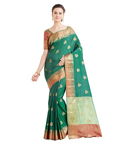 Viva N Diva Sarees for Women's Banarasi Latest Design Party Wear Shaded Green Colour Banarasi Art Silk Saree with Un-Stiched Blouse Piece,Free Size