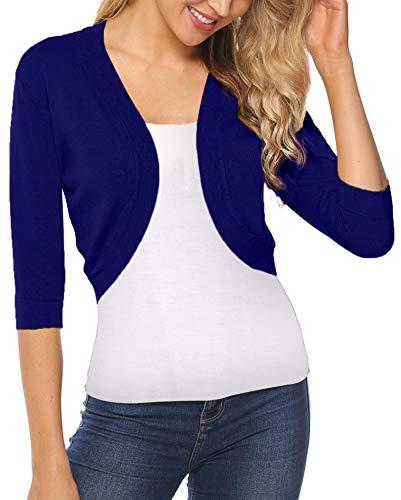 (iClosam Women Open Front Cardigan 3/4 Sleeve Long Sleeve Cropped Bolero Shrug (Royal Blue, XX-Large))