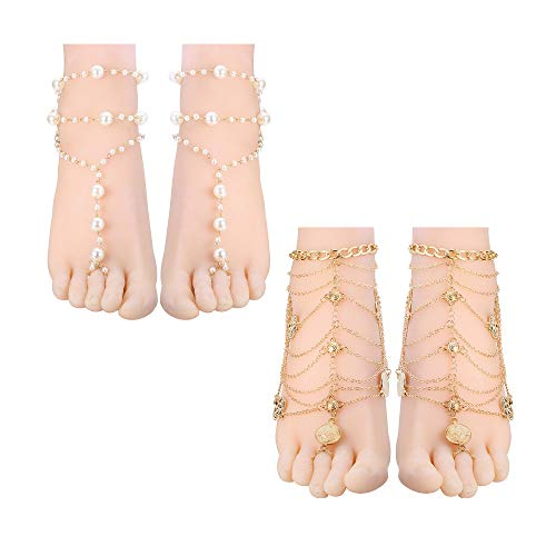 - JOERICA 2-3 Pairs Foot Chain Barefoot Sandal for Women Girls Starfish Footless Ankle Bracelet Wedding Jewelry with Toe Ring