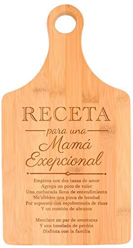 Mama Regalos Receta Para Una Mama Exepcional Tabla De Cortar Paddle Shaped Bamboo Cutting Board