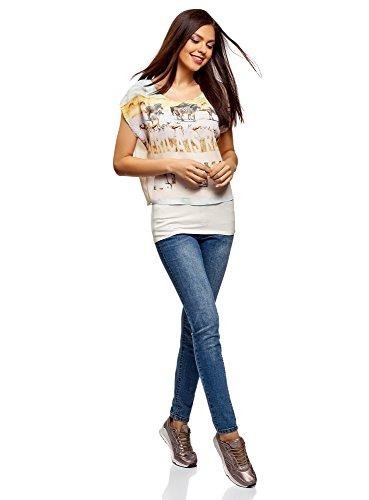 Blouse en Femme Blanc Imprime 1219p Tissu oodji Combin Collection Sxwqvv