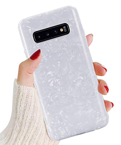 J.west Galaxy S10 Plus Case, Luxury Sparkle Glitter Cute Phone Case Girls Women Pretty Design Translucent Clear Slim TPU Soft Rubber Silicone Cover Protective Case for Samsung Galaxy S10 Plus(White) ()