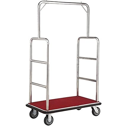 1e82042dda25 Silver Stainless Steel Bellman Cart, Straight Uprights, 6