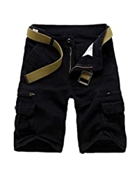 WSLCN Mens Military Style Combat Cargo Shorts Cotton (Without Belt)